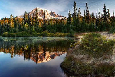 Photograph - Mt. Rainier At Reflection Lake by Ray Still
