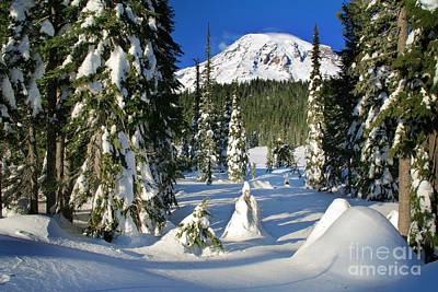 Mt Rainier At Reflection Lakes In Winter Print by Inge Johnsson