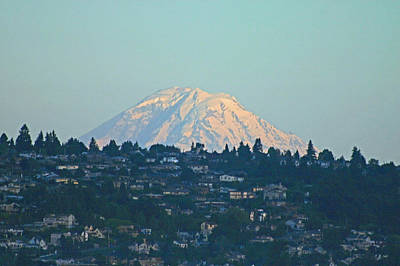Cargo Boats Rights Managed Images - Mt. Rainier Behind Seattle Royalty-Free Image by Hugh Carino