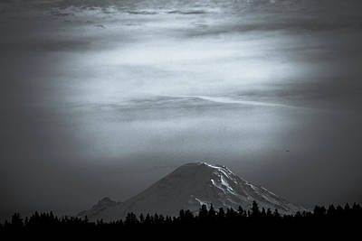 Photograph - Mt. Rainier In Black And White by Ronda Broatch