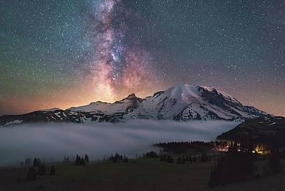 Milky Way Wall Art - Photograph - Mt. Rainier Milky Way by Steve Schwindt