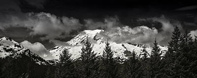 Wa Photograph - Mt Rainier Panorama B W by Steve Gadomski