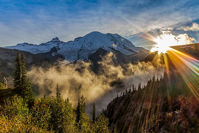 Mt Rainier Sunburst Art Print by Ken Stanback