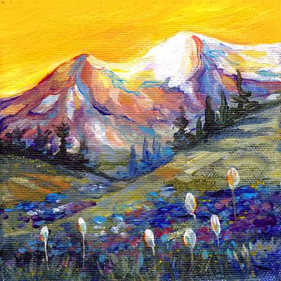 Mountain Sunset Painting - Mt. Rainier Sunset by Peggy Wilson