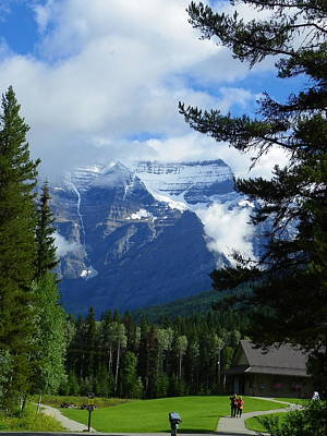 Photograph - Mt. Robson Teasing Us by Georgia Hamlin