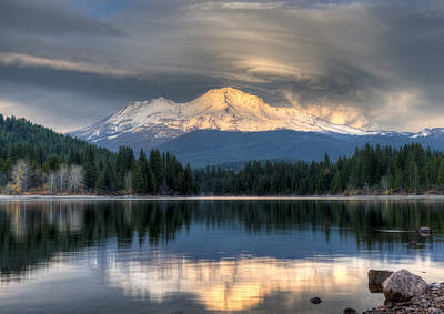Photograph - Mt. Shasta Storm Glow by Loree Johnson