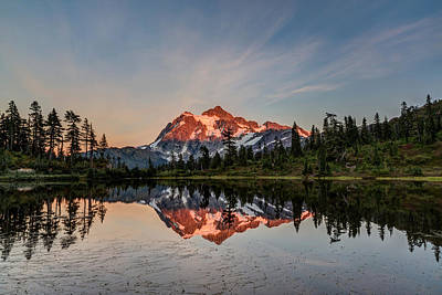 Adventure Photograph - Mt Shuksan Reflection In Picture Lake by Pierre Leclerc Photography