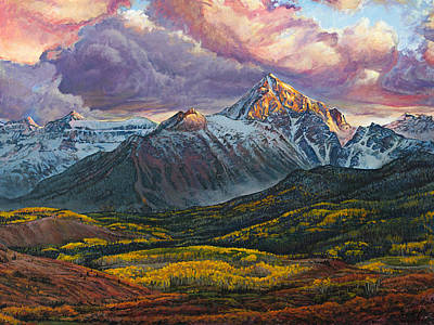 Mount Wilson Painting - Mt. Sneffels by Aaron Spong