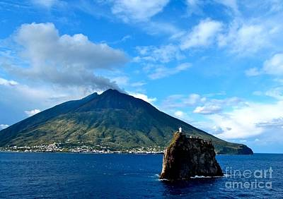 Photograph - Mt Stromboli Volcano And Lighthouse by Phyllis Kaltenbach