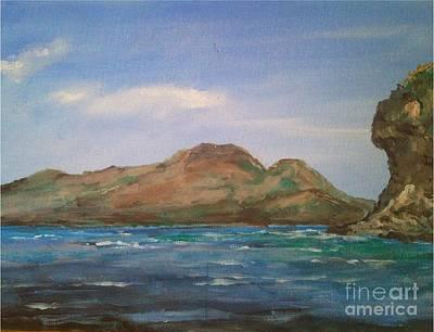 Apo Painting - Mt.talinis Volcano From Apo Beach Resort by Richard John Holden RA