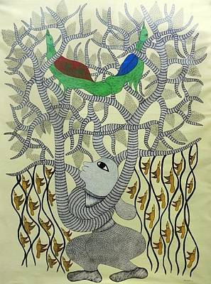 Gond Tribal Art Painting - Mu 71 by Mangru Uikey
