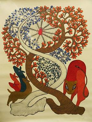 Gond Tribal Art Painting - Mu 75 by Mangru Uikey