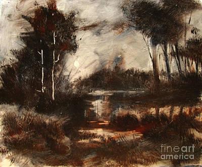 Tonalist Painting - Mud Lake Wip by Charlie Spear