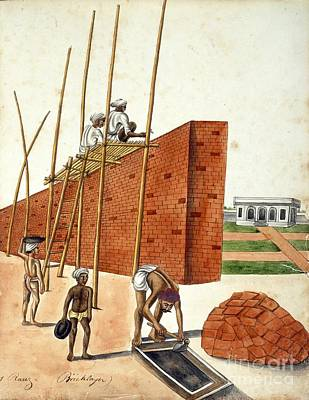 Mud Wall Construction In India, 1810s Art Print by British Library