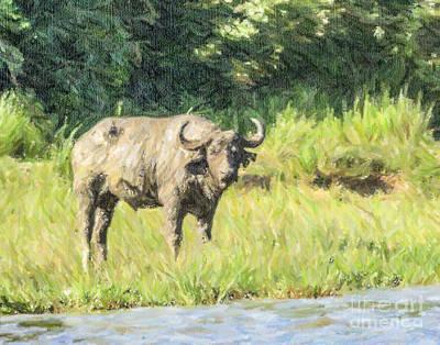 Africa Digital Art - Muddy Buffalo Syncerus Caffer River Nile Uganda by Liz Leyden