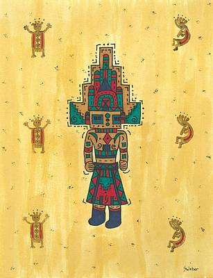 Art Print featuring the painting Mudhead Kachina Doll by Susie Weber