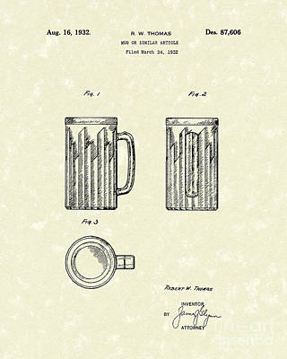 Glass Drawing - Mug 1932 Patent Art by Prior Art Design