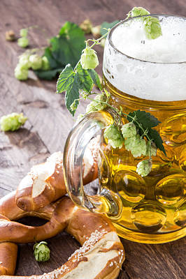 Mug Of Beer And Pretzels Art Print