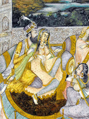 Harem Mixed Media - Mughal Miniature Painting On Manuscript Paper Representing An Emperor In His Harem by Anonymous Indian artist