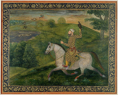 Mughal Nobleman Out Hawking Art Print by British Library