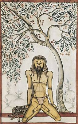 Mughals Book. 17th C. Yoga Position Art Print by Everett
