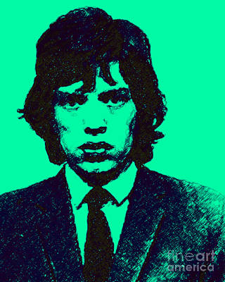 Wingsdomain Digital Art - Mugshot Mick Jagger P128 by Wingsdomain Art and Photography