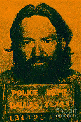 Portraits Digital Art - Mugshot Willie Nelson P0 by Wingsdomain Art and Photography