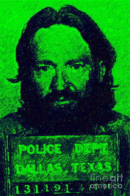 Mugshot Willie Nelson P88 Print by Wingsdomain Art and Photography
