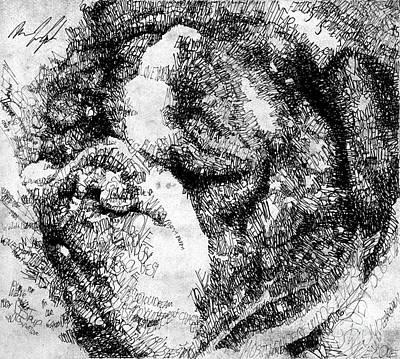 Bulldog Drawing - Mugsy The Pup by Michael Volpicelli