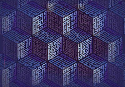 Digital Art - Muhamad Cubes by Mamoun Sakkal