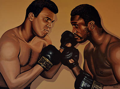 Action Portrait Painting - Muhammad Ali And Joe Frazier by Paul Meijering