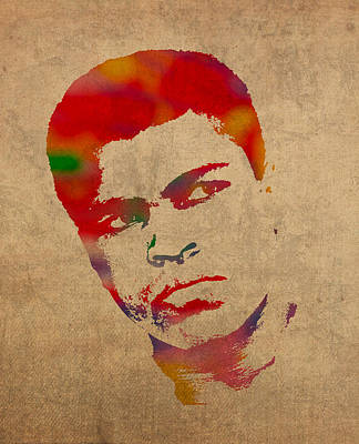 Muhammad Ali Watercolor Portrait On Worn Distressed Canvas Art Print by Design Turnpike