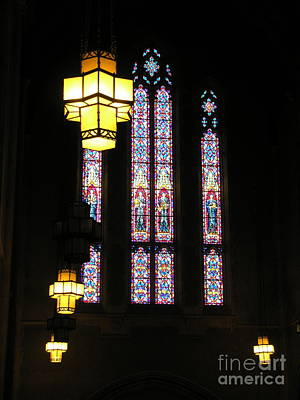 Photograph - Egner Memorial Chapel Windows And Tudor Luminaries by Jacqueline M Lewis