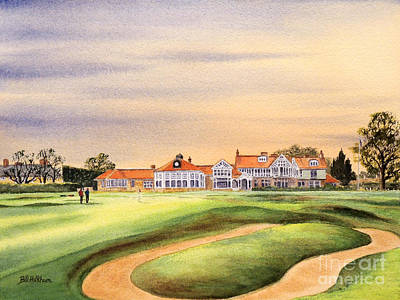 Sports Paintings - Muirfield Golf Course 18th Green by Bill Holkham