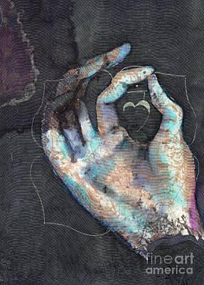 Painting - Muladhara - Root 'blue Hand' Chakra Mudra by Silk Alchemy