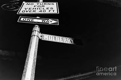Photograph - Mulberry Street One Way Mono by John Rizzuto
