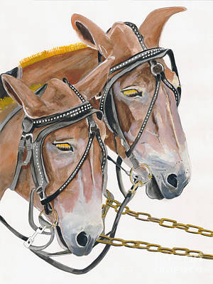 Painting - Mules - Two - Beast Of Burden by Jan Dappen