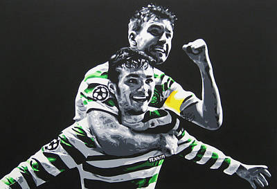 Painting - Mulgrew And Watt - Glasgow Celtic Fc by Geo Thomson