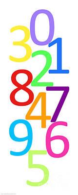 Digital Art - Multi-color Numbers by Jackie Farnsworth