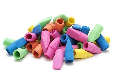 Ball Pen Work Photograph - Multi-color Pencil Erasers by Donald  Erickson