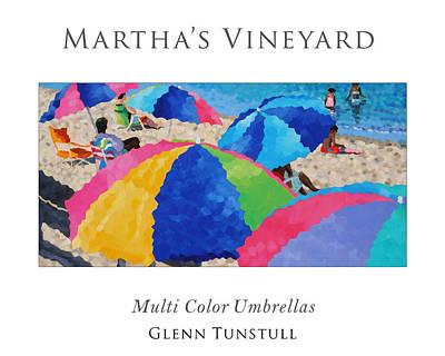 Painting - Multi Color Umbrellas Poster by Glenn Tunstull