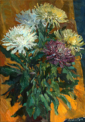 Painting - Multi Colored Chrysanthemums by Juliya Zhukova