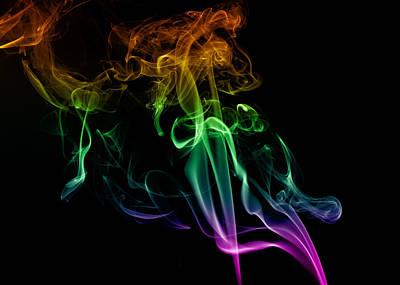 Multi Colored Smoke Abstract On Balck Art Print