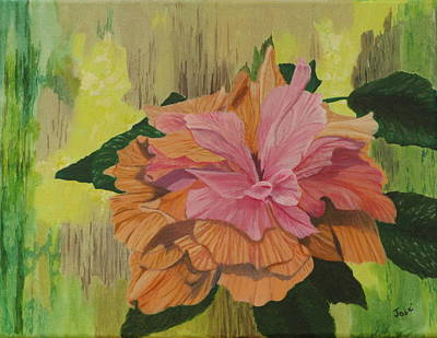 Art Print featuring the painting Multi-petaled Pink Peach Hibiscus by Hilda and Jose Garrancho