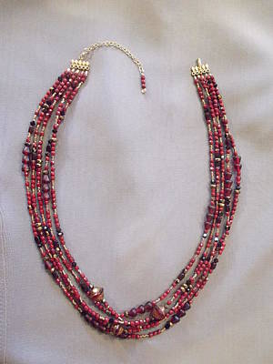 Delica Beads Jewelry - Multi Red Bead Necklace by Jan Durand
