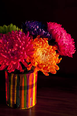 Photograph - Multicolored Chrysanthemums In Paint Can On Chest Of Drawers Int by Jim Corwin