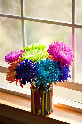 Photograph - Multicolored Chrysanthemums In Paint Can On Window Sill by Jim Corwin
