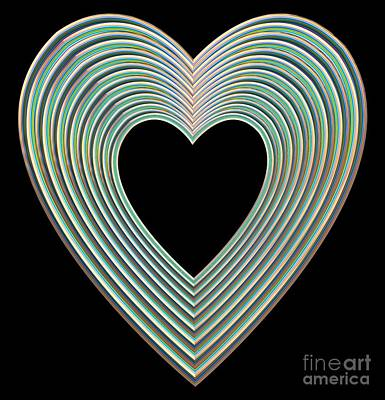 Digital Art - Multicolored Rainbow Heart On Black by Rose Santuci-Sofranko