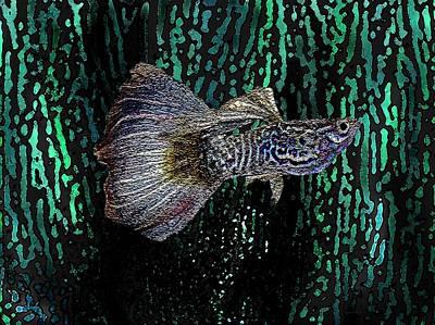 Multicolored Tropical Fish In Digital Art Art Print by Mario Perez