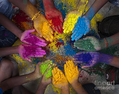 Paint Photograph - Multicoloured Hands by Tim Gainey